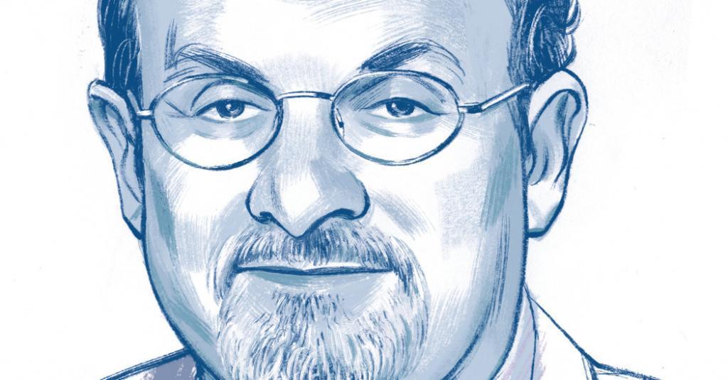 Salman Rushdie (ilustração: Jillian Tamak/The New York Times)
