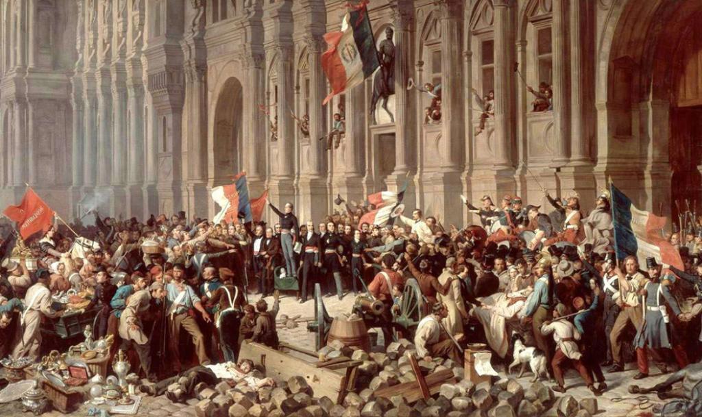 Henri Félix Emmanuel Philippoteaux. Lamartine rejeita a bandeira vermelha,1848.