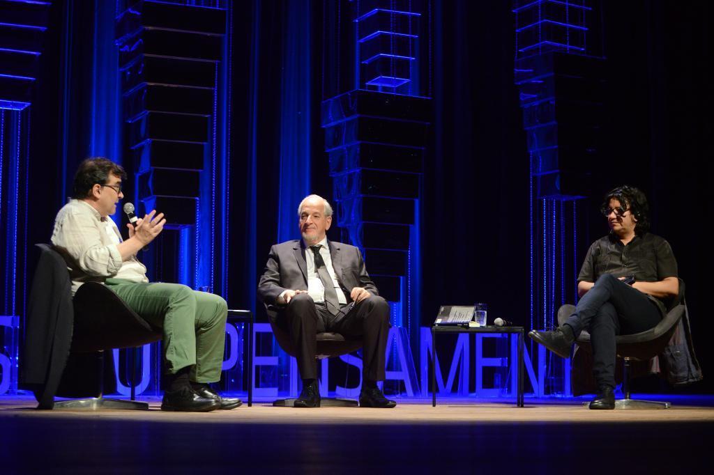 Alejandro Zambra e Javier Cercas no Fronteiras POA (foto: Luiz Munhoz/Fronteiras)