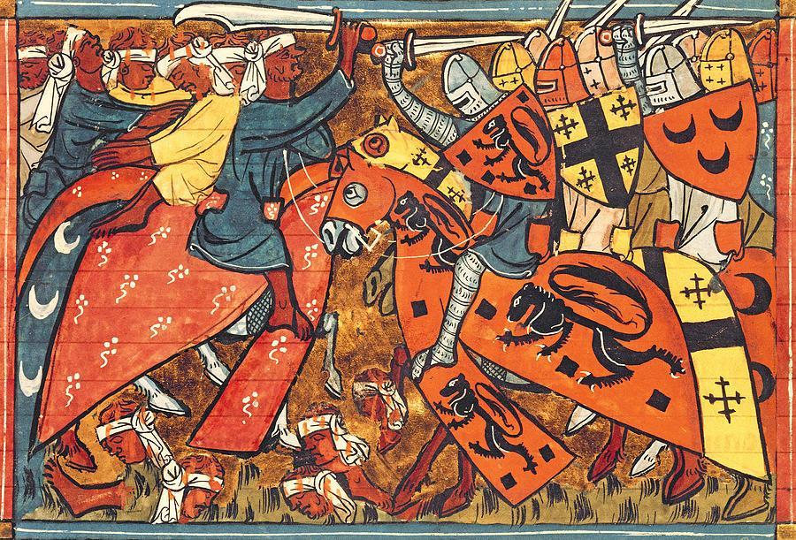 Batalha entre cruzados e muçulmanos (Roman de Godefroi de Bouillon et de Saladin, Paris, 1337)