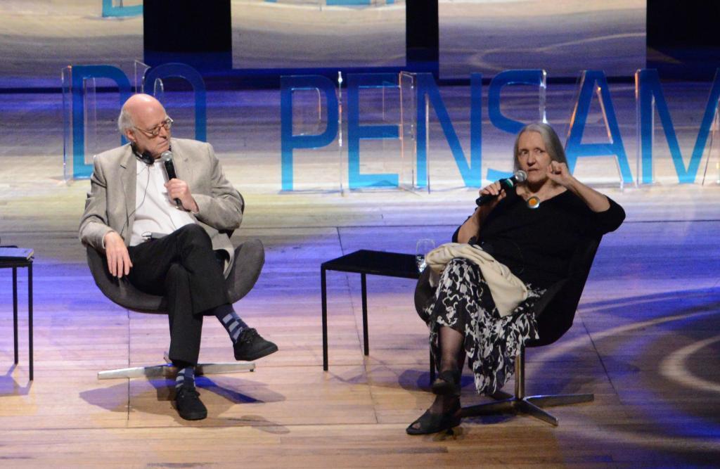 Richard Sennett e Saskia Sassen (foto: Luiz Munhoz/Fronteiras do Pensamento)