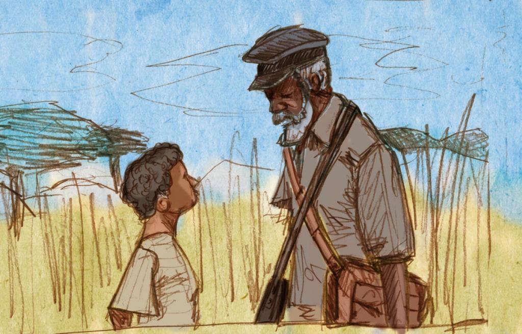 Em Terra Sonâmbula, menino encontra diário de outra vítima da Guerra Civil em Moçambique (ilustração: Matheus Vigliar)