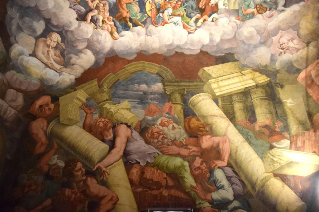 Detalhe do afresco de Giulio Romano ilustra capa de Mark Lilla. O afresco é baseado em Metamorfoses, de Ovídio, e mostra batalha entre os Gigantes, que tentam subir ao Olimpo, e Zeus.